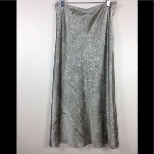 DKNY Silk Midi Skirt Silver Gray Pattern